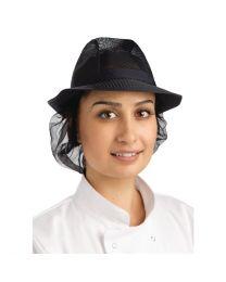 Trilby hoed met haarnetje blauw L