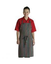 Chef Works halterschort rood-grijs gestreept
