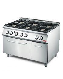 Gastro M 700 plus gasfornuis met 6 branders en gas oven GM70/120CFG