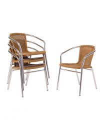 Bolero aluminium en rotan stoel naturel