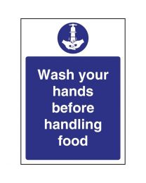 Vogue 'Wash hands before handling food' bord