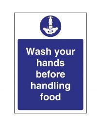 Vogue 'Wash hands before handling food' bord